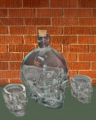 Crystal Head Vodka Bottle and 2 Shot Glasses