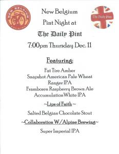 New Belgium Pint Night Dec 11